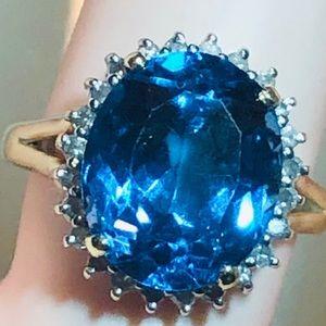 Beautiful London Blue Topaz and Diamond 14k Ring